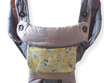 SALE-Pouch for Ergo 360,Ergo Adapt,Lillebaby Carrier,Removable Pocket,Carrier Pouch,Extra Pocket,Wallet,Panda Bear in Yellow Flower/Beige