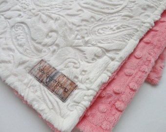 Ivory and Coral Paisley Minky Baby Blanket - Made to Order