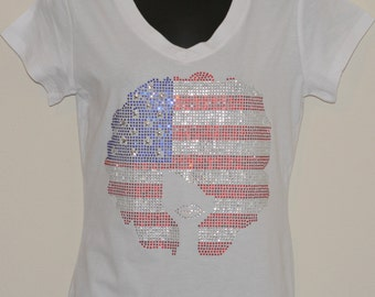 Afro with an Attitude (American Flag) T Shirt