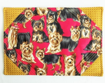 Mug Rug , YORKIES  CHILLIN' Quilted Snack Mat , Coaster , Candle Mat , Red , Table Topper , Place Mat , Dogs