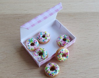 Made to order. Miniature donuts in a box (1:12)