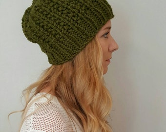 Knit Hat - Moxie Hat - Olive Green