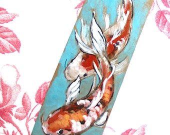 Koi Fish Print for bookmark or altered tag project ATC