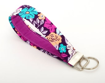 Flower Lanyard, Purple Key Fob, Keychain for Women - Purple Floral - Desk Accessories