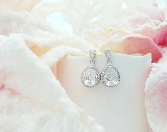 Bridal Earrings, CZ Teardrops, Bridal Jewelry, Wedding Earrings, Mother of the Bride, Anniversary Present, Prom, CZ Stud and Dangle E2024