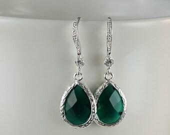 Dark Green Bridesmaid, May Birthstone, Emerald Birthstone Gift, Green Wedding Jewelry, Regal Earrings, CZ Earrings, Fern Green, Prom, E2106
