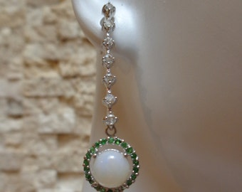 Rainbow Opal, Chrome Diopside and cz set in Sterling Silver earring