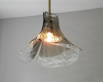 Perfect Beautiful Rare Original 60s J.T. Kalmar Heavy Frosted Glass Pendant Lamp.  In The Shape Of