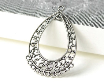 Teardrop Pendant Antique Silver Filigree S Shaped Chandelier Earring Charms 28x43mm Set of 10 A8202