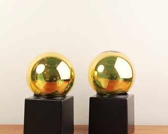 Pair of minimalist Philips table lamps with big gold bulb - ca. 1970s - Dutch design