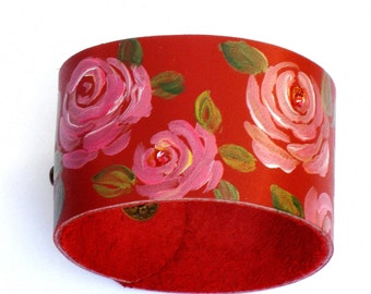 Red Rose Leather Bracelet Hand Painted Romantic Boho Flower Jewelry FREE SHIPPING