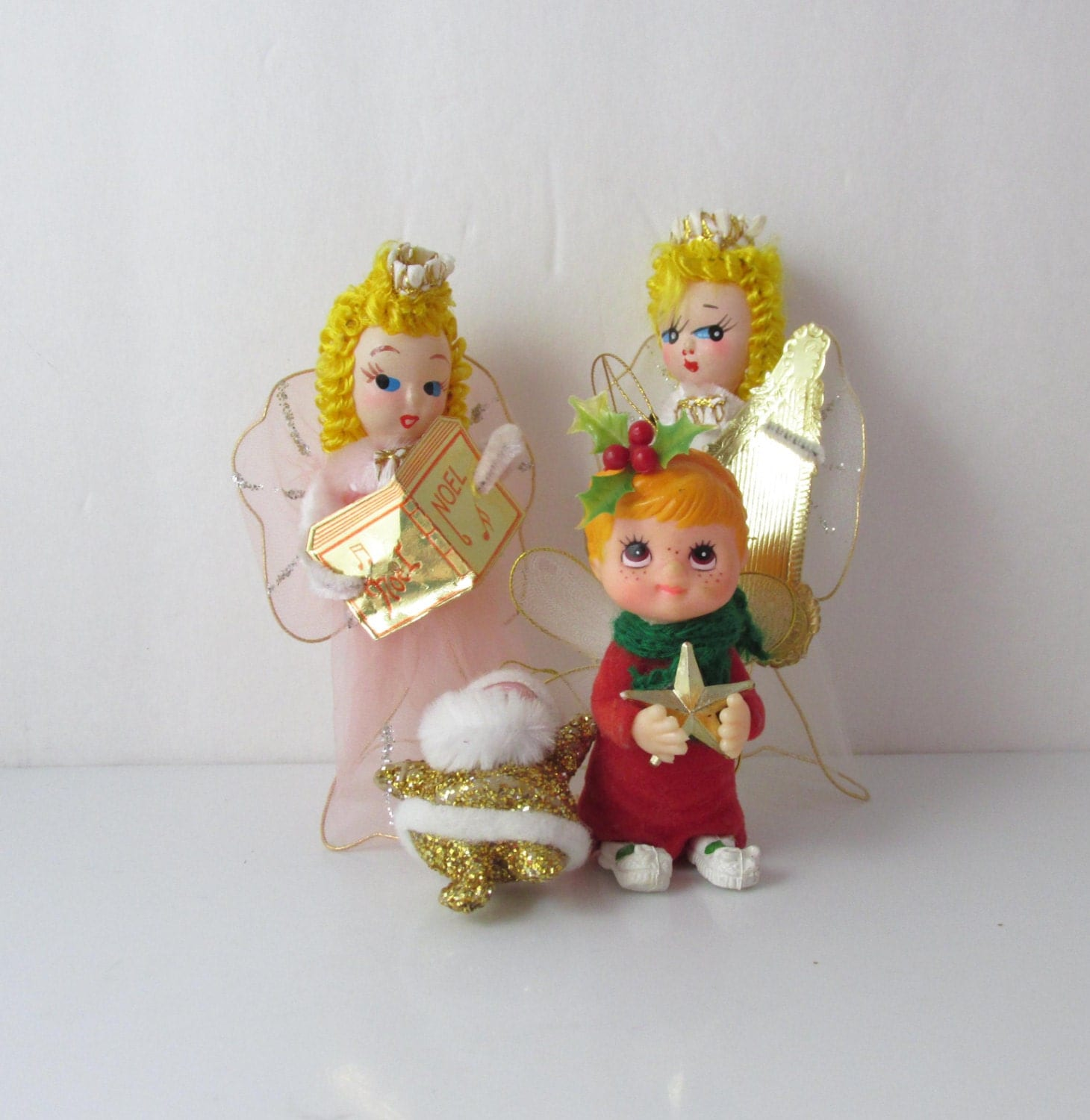 Lot Of 5 Vintage Christmas Decorations Kitsch Santa Claus: Retro Kitsch Angel Santa Christmas Ornaments Figures Lot Of 4