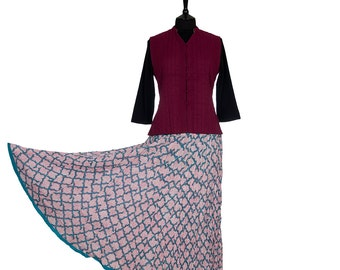 Block Printed CRINKLE SKIRT - One size 8 to 18 - Turquoise and pink motif