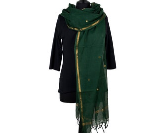 CHETTINAD SCARF - Bottle Green with Gold Brocade