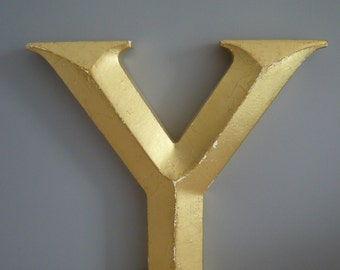 Wooden Sign Letter Painted Gold 3D Y Home Decor Alphabet Wall Hanging Retro Vintage Mid Century