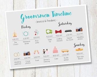 Custom Groomsmen timeline program -  Wedding Timeline Bridesmaids and Groomsmen - Wedding Itinerary Timeline DIGITAL FILE!