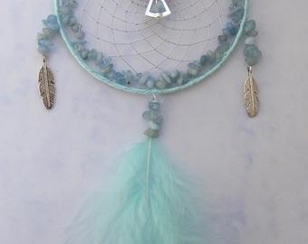 AQUAMARINE March Birthstone Guardian Angel Dreamcatcher Gemstone Birthday Present Gift