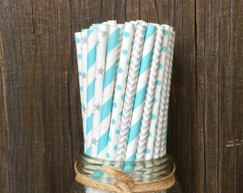 Cinderella Straws, 100 Silver Dot Straws, Blue Stripe Straws, Silver and Blue, Baby Shower Straws, Birthday, Paper Straws, Free Shipping