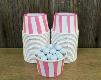 Pink and Whte Paper Snack Cups - Set of 48 - Striped Candy Cup - Birthday Party - Mini Ice Cream Cup - Paper Nut Cup - Same Day Shipping