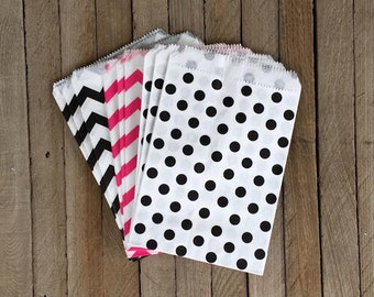 48 Pink, Black and White Favor Bag--Diva Theme Favor Sack-- Candy Favor Bag--Chevron Goodie Bag--Polka Dot Party Sack-Birthday Treat Sack-