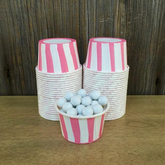 Mini Paper Candy Cup : Pink striped candy nut cups paper baking mini