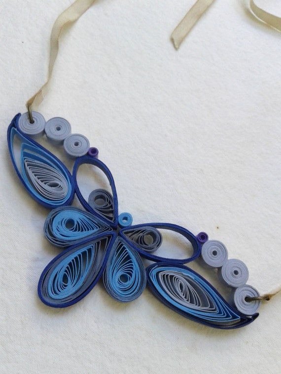 Items similar to quilling blue necklace art deco shades for Deco quilling