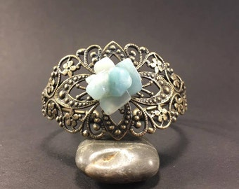 Bronze bracelet & Amazonites chips.