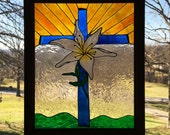 Cross Stain Glass Look/ Easter Lily and Cross/ Christian Window Decor/ Religious Cross Faux Stain Glass Window Decor/ Cross Window Decor