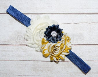 Mustard Yellow Navy Headband, Baby Headband, Autumn Baby Headband, Fall Headband, Newborn Headband, Headband, Infant Headbands