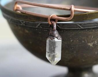 Crystal Bangle Electroformed Bracelet Stacking Bracelet Copper Jewelry Dangle Bracelet Electroformed Bangle Copper Bracelet