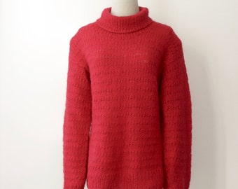 Red poppy wool sweater. Red turtleneck. Fluffy turtleneck. Handknit jumper. Woollen pullover. NZ wool sweater. Handmade chunky sweater