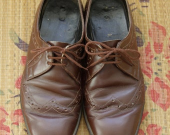 Brown mens oxfords. 70s mens shoes. Brown brogues. Brown leather derby shoes 40.