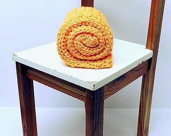 Cantaloupe / Melon Baby Blanket, Chunky Heirloom Crochet Security Blanket, Receiving Blanket, Baby Girl Crib Blanket, Boy Stroller Blanket