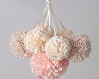 Hanging Pom Pom Mobile, Crib Arm Mobile, Baby Girl Nursery