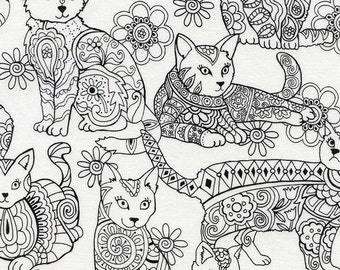 Coloring Fabric, Coloring Cats - Outline Fabric by Gail Cadden for Timeless Treasures c4815 - Black & White - Priced by the Half Yard