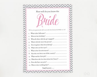 Who Knows The Bride Best Bridal Quiz Game Pink And Grey How Well Do You