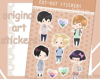 STICKER Sheet Manga Cute Anime Chibi Stickers Original Art