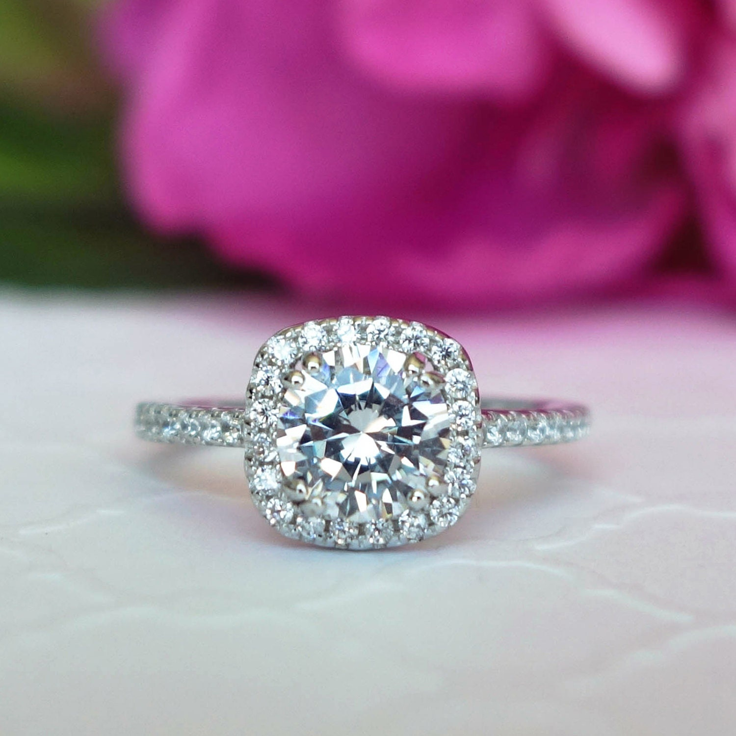 1 25 ctw Classic Square Halo Engagement Ring Man Made Diamond