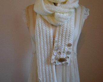 OOAK Shabby Chic Extra Long Crochet Scarf in Cream ~ Adorned with Vintage Buttons ~ by The Ivory Dolls