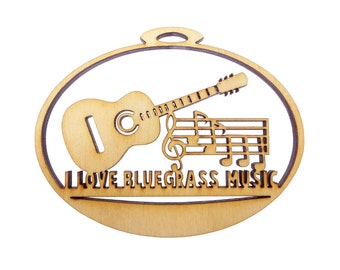 I Love Bluegrass Music Ornament - Kentucky Bluegrass Music - Kentucky Blue Grass Music - Personalized Free