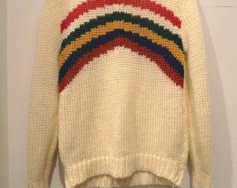 80's rainbow crew neck sweater