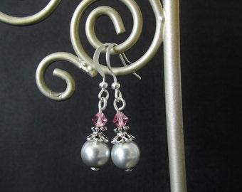 Gray Glass Pearl Earrings - Pink Crystal Bead Earrings - Beaded Silver Flower Dangle Earrings - Handmade Christmas Jewelry Gifts for Her