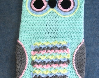 Made to Order Crochet OWL Blanket Choose size 6-12 months, 12-24 month or toddler