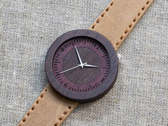 Black Wenge minimal wood watch , Majestic Watch,  Sand Genuine Leather strap + Any Engraving / Gift Box. Anniversary  gift