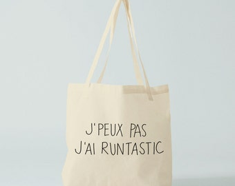 Tote bag, Runtastic, french quote, running quote, printable quote, inspirational quote, coworker gift, gift friend.