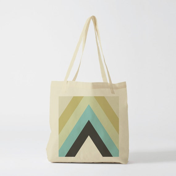 Tote bag Vintage Green Triangles, Canvas bag, yoga bag, groceries bag, school bag, gift for coworker, novelty gift, beach bag, gift woman.
