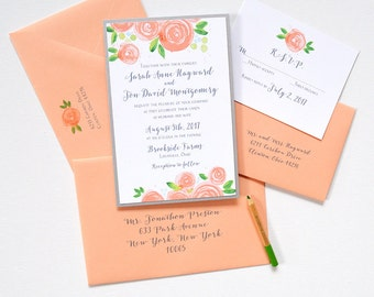 Wedding Invitation, Floral Wedding Invitation, Summer Wedding Invitation, Botanical Wedding Invitation Set, Layered Peach Rose Blooms