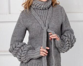 grey sweater / sweater knitting / sweater braids / openwork sweater / fashion sweater / winter fashion / Autumn Fashion / Women's Fashion