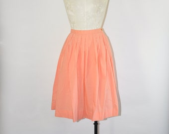50s coral pink skirt / 1950s cotton full skirt / vintage pleated skirt