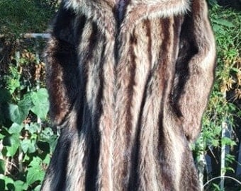 Raccoon fur coat, long fur coat,vintage fur